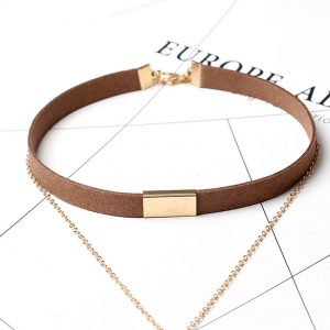 Choker Necklace with Gold Chain Bar