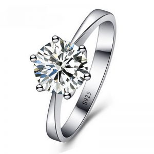 Classic Round Zirconia 925 Sterling Silver Ring